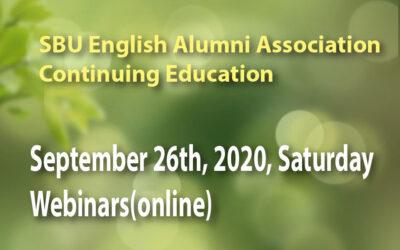 CONTINUING EDUCATION – September 26th, 2020, Saturday, Webinars(online)